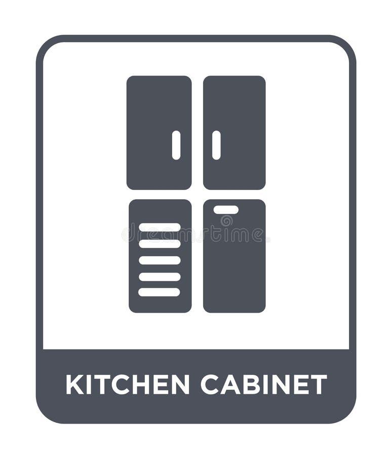 keukenkastpictogram in in ontwerpstijl keukenkastpictogram op witte achtergrond wordt geïsoleerd die eenvoudig keukenkast vectorp royalty-vrije illustratie