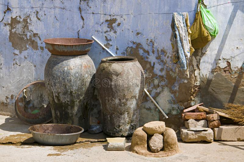 Keukenmateriaal, Vadnagar, Gujarat stock afbeeldingen