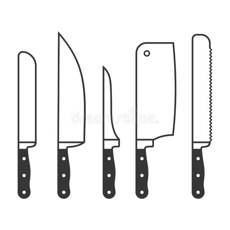 Keukenmessen op Witte Achtergrond worden geplaatst die Vector vector illustratie