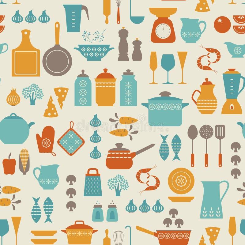 Keukenpatroon stock illustratie