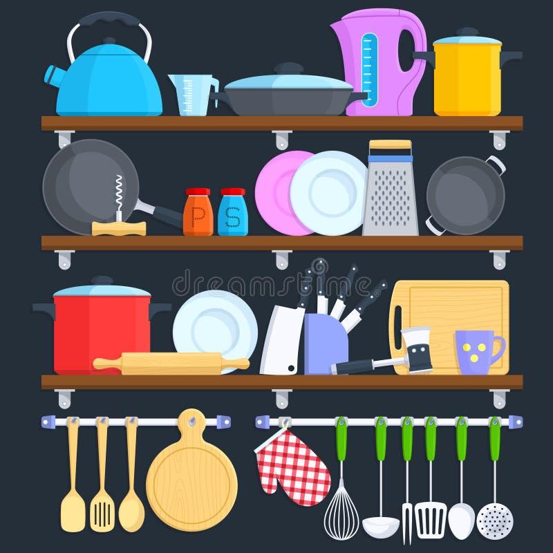 Keukenplanken met cookware en het koken materiaal vlak vectorconcept royalty-vrije illustratie