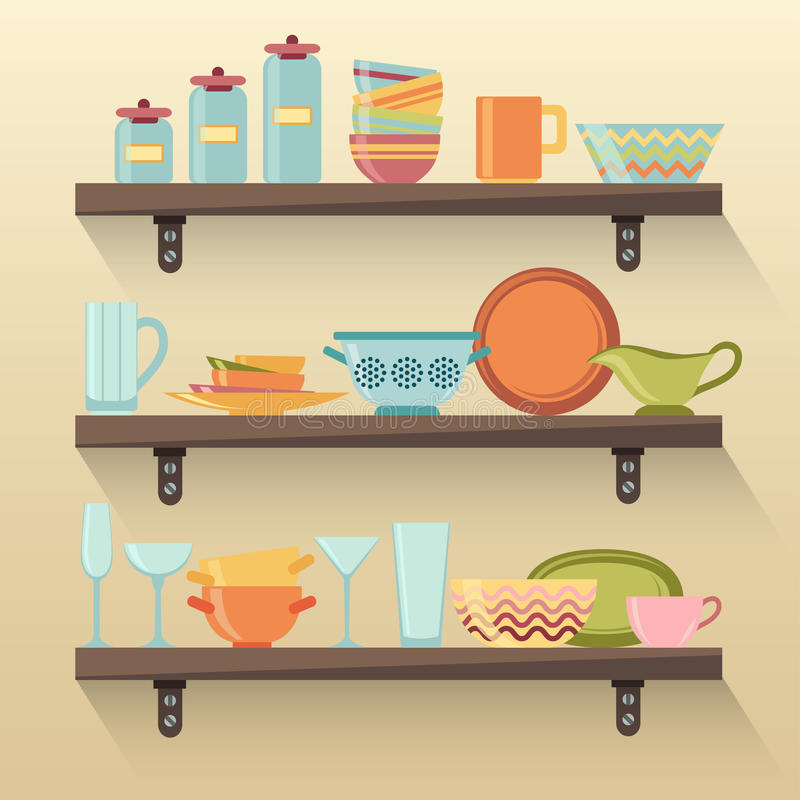 Keukenplanken met kleurrijk vaatwerk stock illustratie