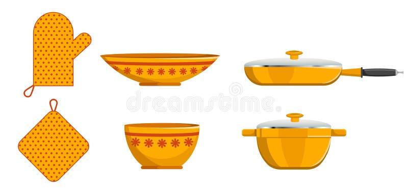 Keukenpot en Schotel Pan Crockery en Vuisthandschoenreeks stock illustratie