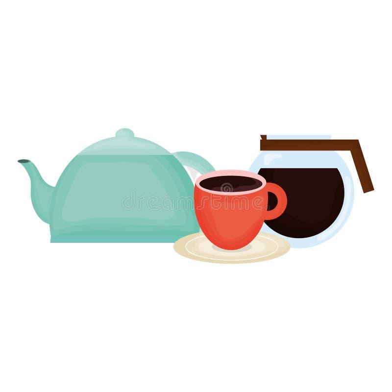 Keukentheepot met koffiezetapparaat stock illustratie