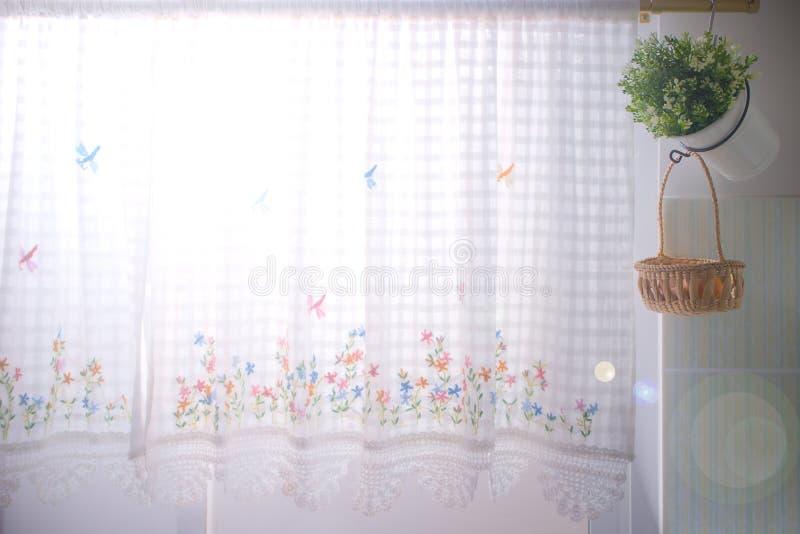 Keukenvensters gekleed met kantgordijn en bloempot royalty-vrije illustratie