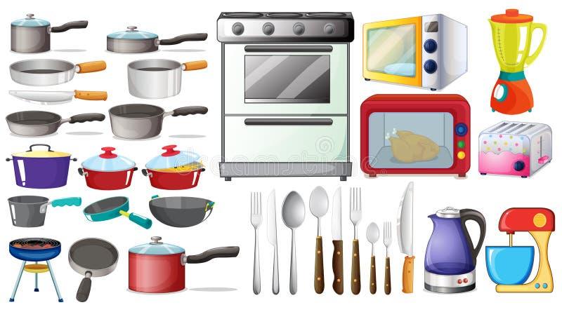 Keukenvoorwerpen royalty-vrije illustratie