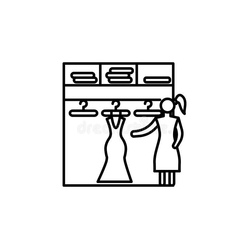 keus van kleding in het pictogram van het opslagoverzicht Element van het winkelen pictogram voor mobiel concept en Web apps Dunn stock illustratie
