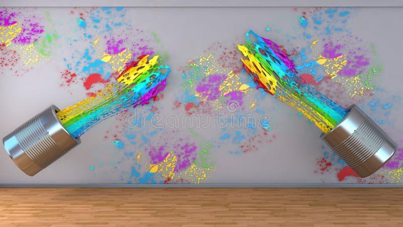Keus van kleuren voor het schilderen van een ruimte Kleuren van de regenboog stock illustratie