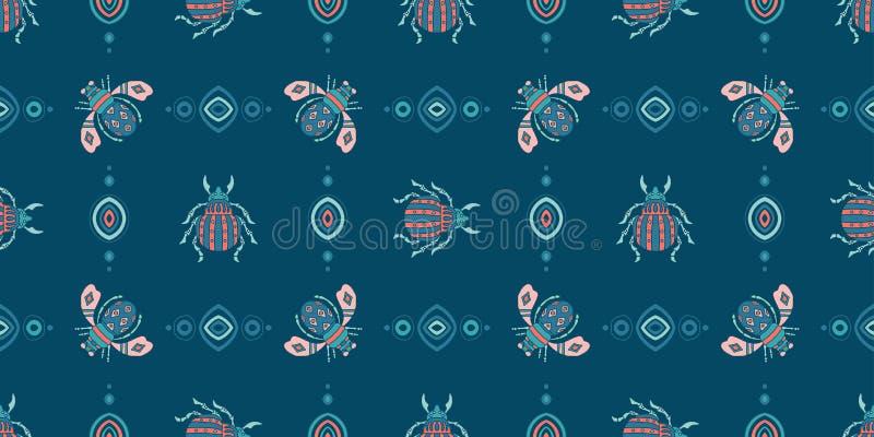 Kevers, vlieg maryls, insecten het naadloze patroon doodling vector illustratie