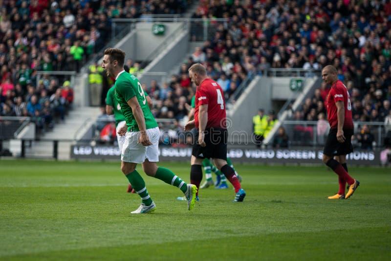Kevin Doyle tijdens de Liam Miller Tribute-gelijke tussen Ierland en Keltische XI versus Manchester United XI royalty-vrije stock afbeelding