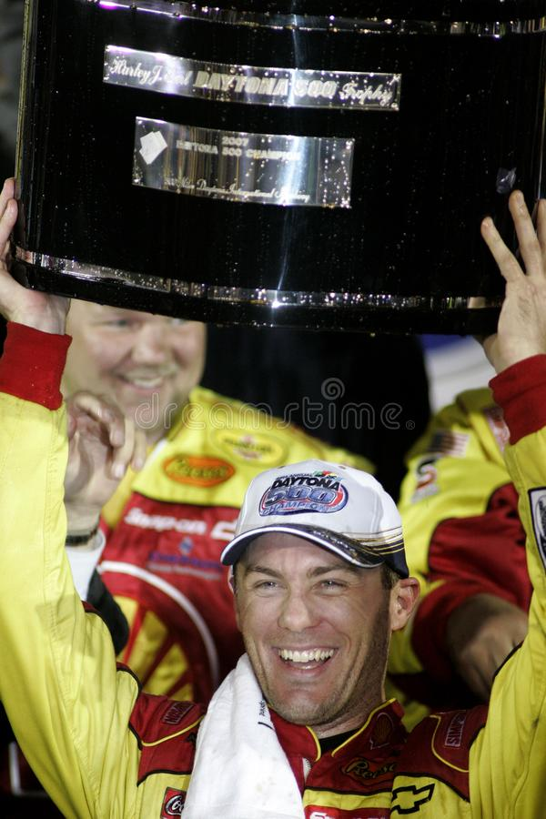 Kevin Harvick celebrates winning the 49th Daytona 500 stock photos