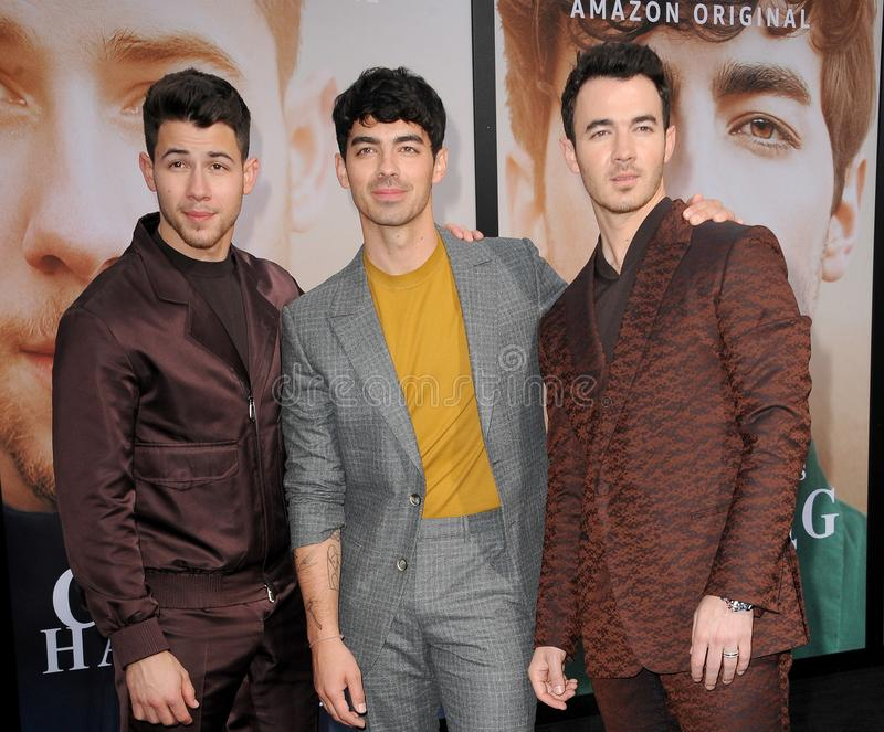 Kevin Jonas, Joe Jonas en Nick Jonas stock foto