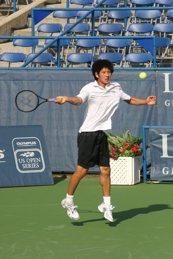 Kevin Kim: Pro treno anteriore del giocatore di tennis fotografia stock