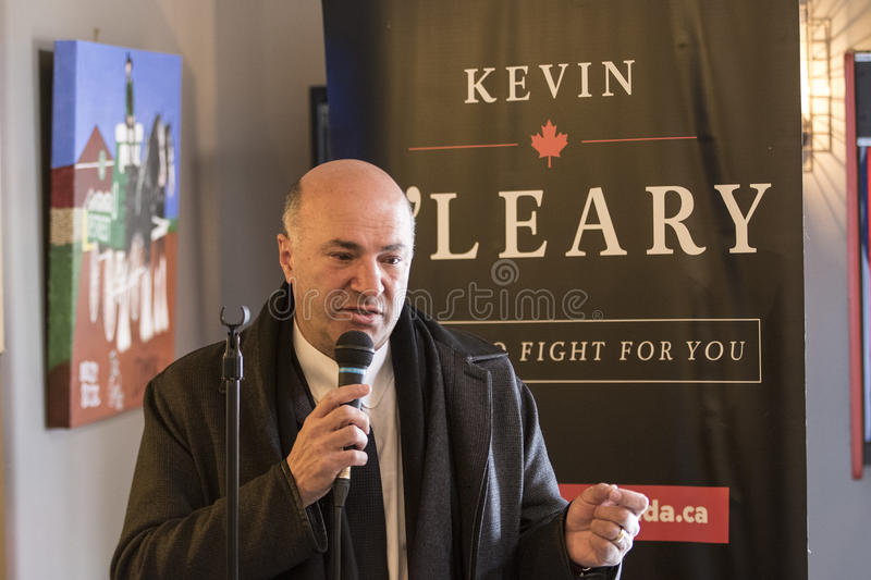Kevin O'Leary Speaking. Canadian businessman Kevin O'Leary, candidate for the leadership of the Progressive Conservative party of Canada talks to an stock image