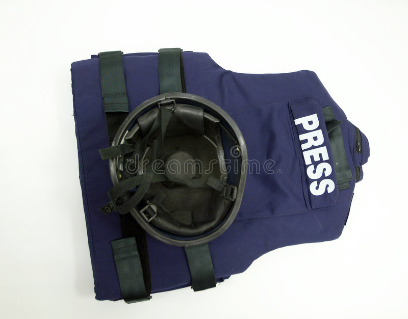 Kevlar helmet and ballistic vest. For press reporters security purpose stock photos