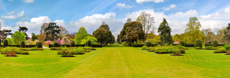 Kew botanical garden landscape in spring, London, UK stock images