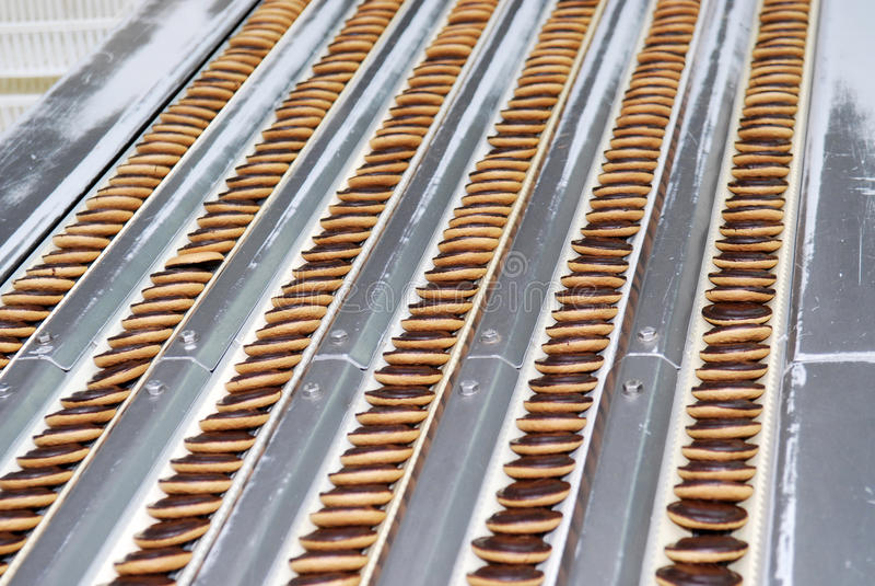 Kex- och dillandeproduktionfabriken fodrar, transportbandet royaltyfri foto