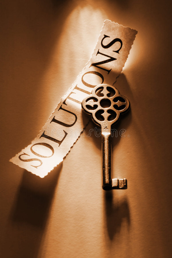 Key. To solutions stock photo