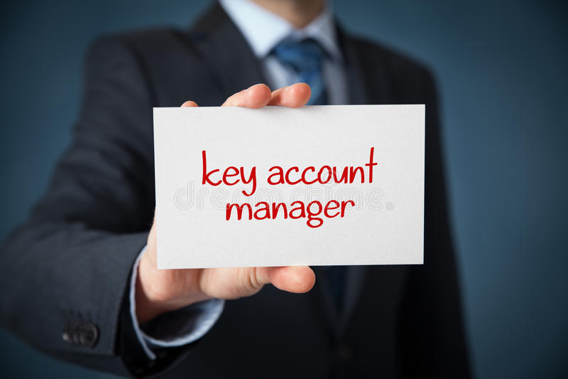 Key account manager. Advertisement concept. Man show card with text stock image