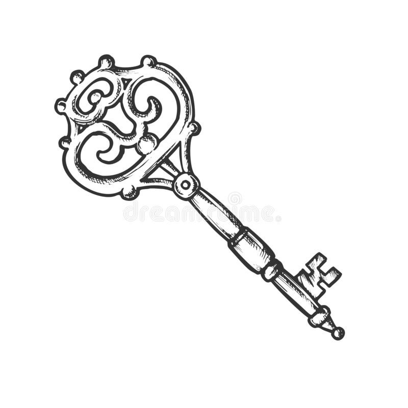 Key Antique Decorative Design Monochrome Vector. Ornate Door Or Gate Skeleton Victorian Key. Close Territory Access Element Template Hand Drawn In Vintage vector illustration