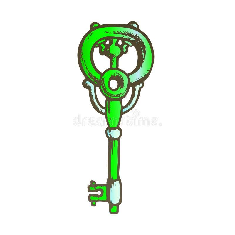 Key Antique Decorative Design Color Vector. Key Antique Decorative Design Monochrome Vector. Ornate Door Or Gate Skeleton Victorian Key. Close Territory Access stock illustration