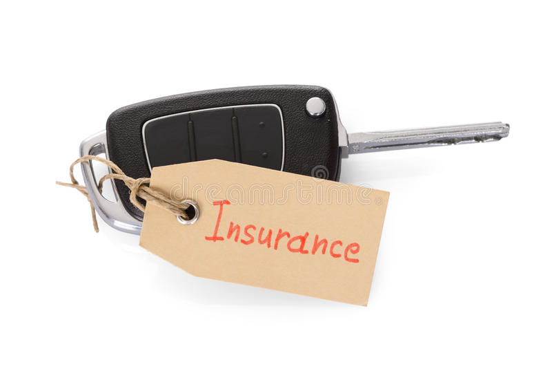 Key attached with insurance tag stock images