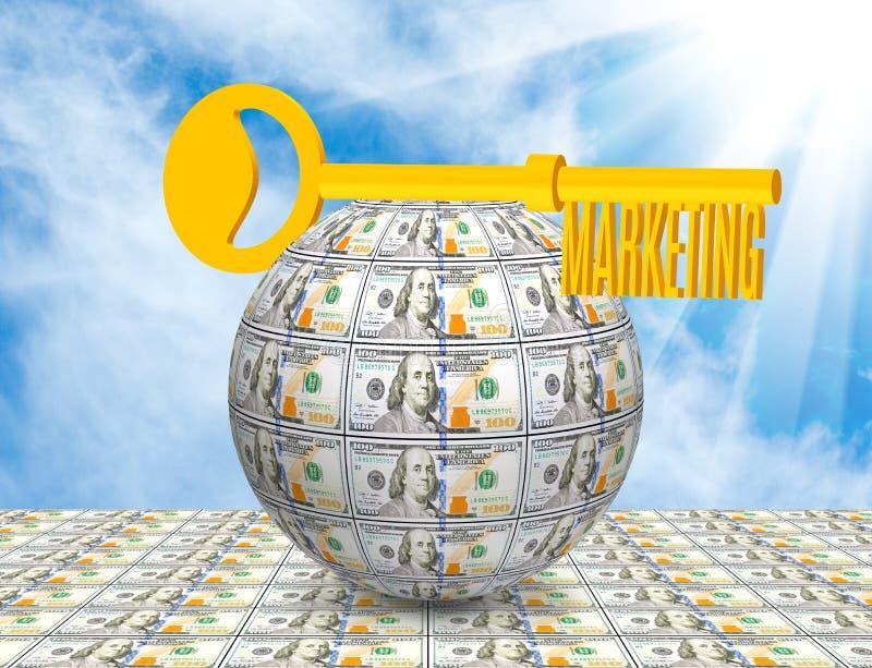 Key on the ball of money close-up. Symbolizes business, money, idea,marketing. Image of the key on the ball of money close-up. Symbolizes business, money, idea stock photography