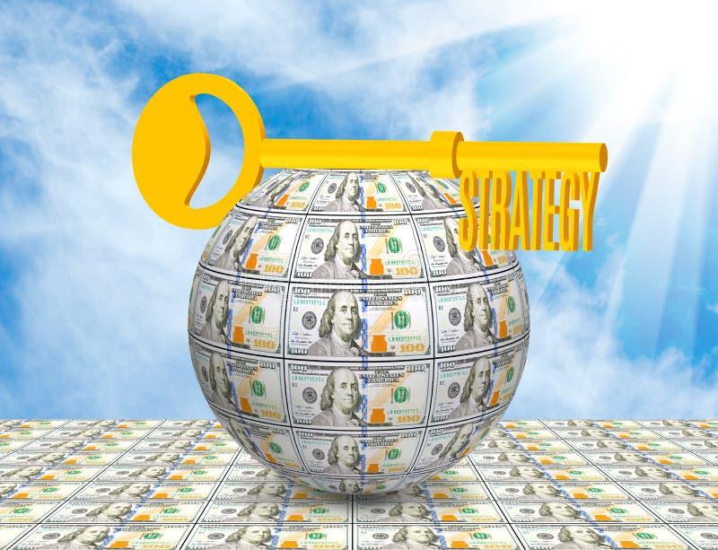 Key on the ball of money close-up. Symbolizes business, money, idea,strategy. Image of the key on the ball of money close-up. Symbolizes business, money, idea royalty free stock image