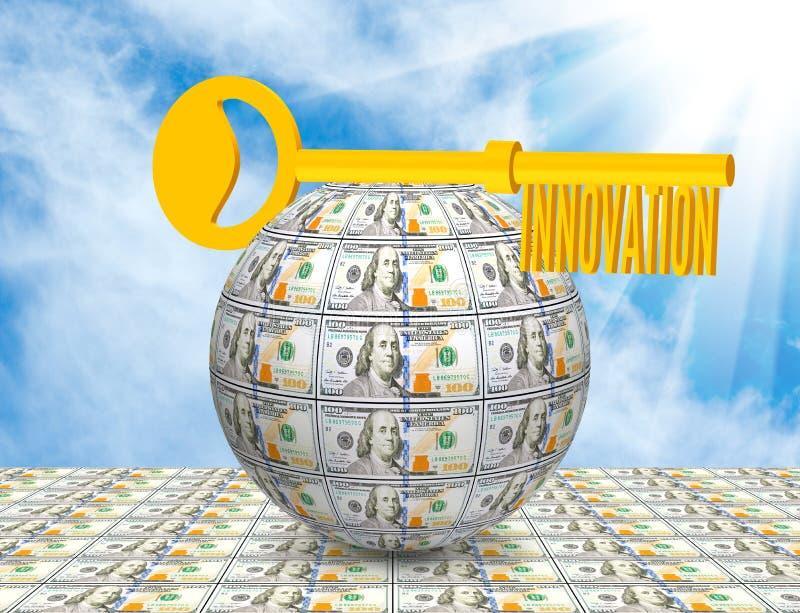 Key on the ball of money close-up. Symbolizes business, innovation,money, idea. Image of the key on the ball of money close-up. Symbolizes business, innovation royalty free stock image