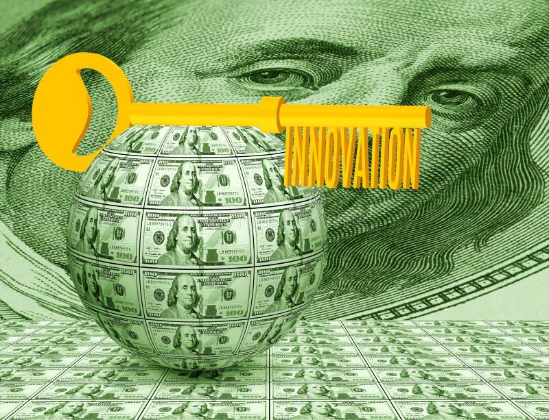 Key on the ball of money close-up. Symbolizes business, innovation,money, idea. Image of the key on the ball of money close-up. Symbolizes business, innovation royalty free stock images