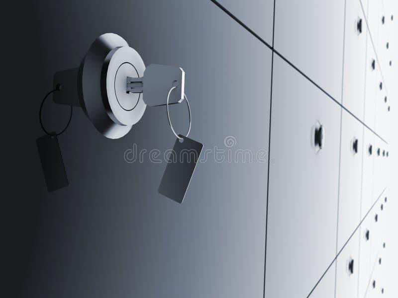 Key in bank deposit. vector illustration