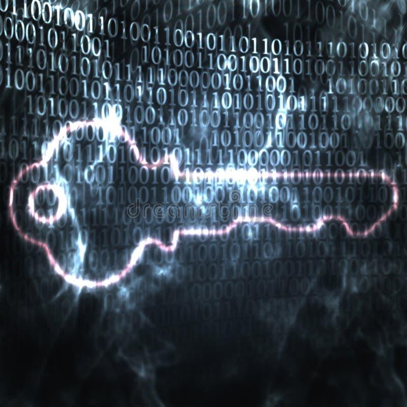 Key and binary code password royalty free illustration