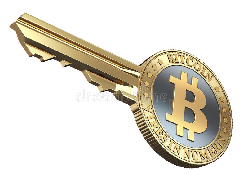 Key with bitcoin. On white background - 3D illustration royalty free illustration