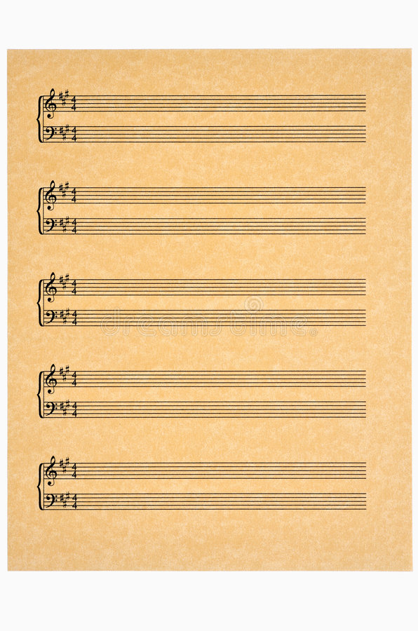 Download Key Of A,  Blank Music Sheet On Parchment Paper Stock Photography - Image: 6468882