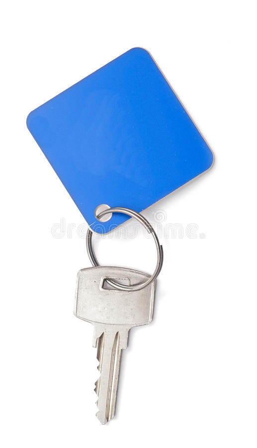 Key with a blank tag. On a white background stock images