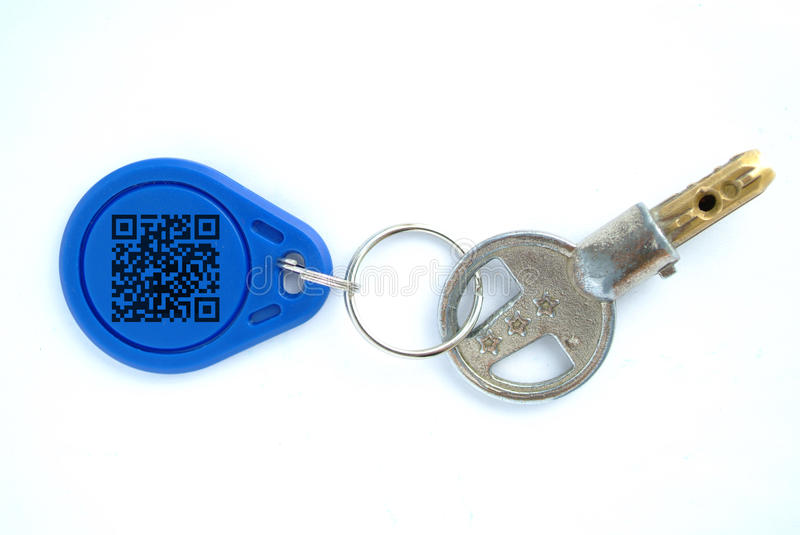 Key with blank tag stock photo