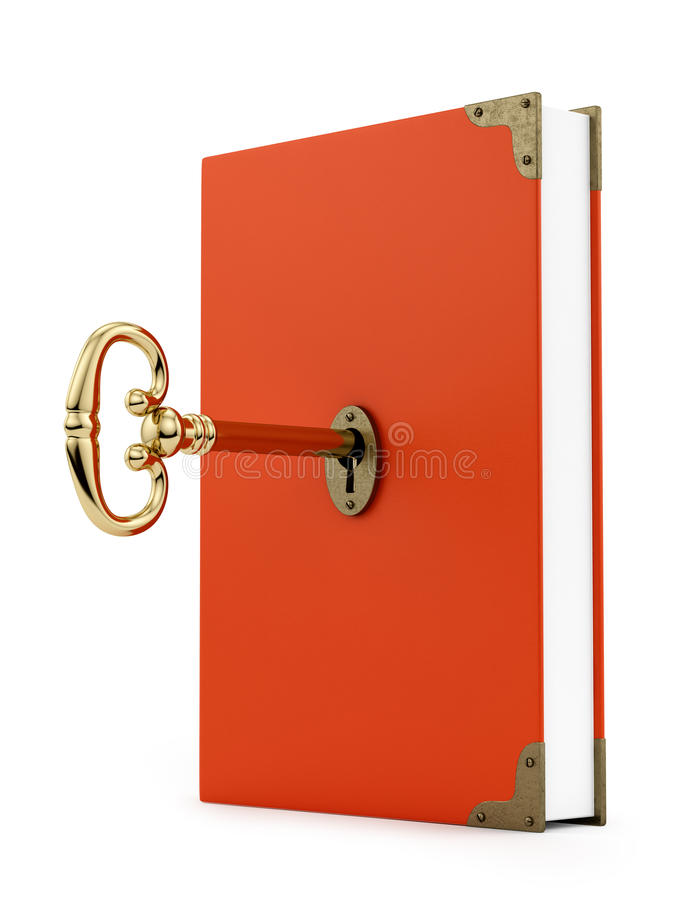 Key in a book stock photography