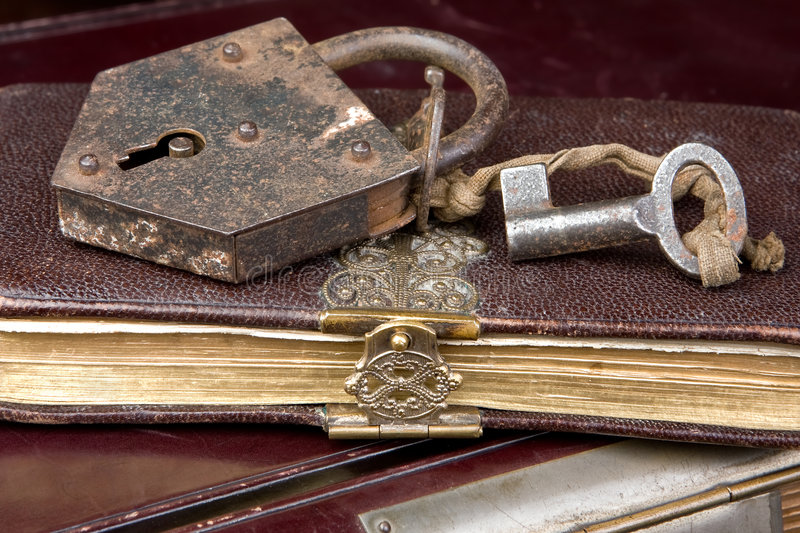 Key on book stock image