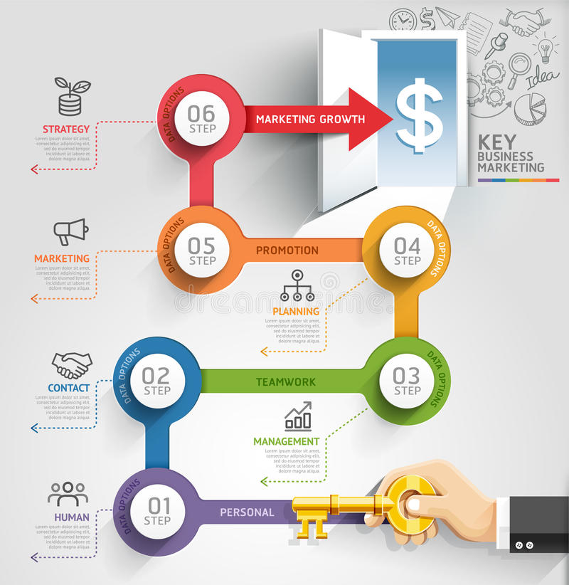 Key business marketing timeline infographic template. stock illustration