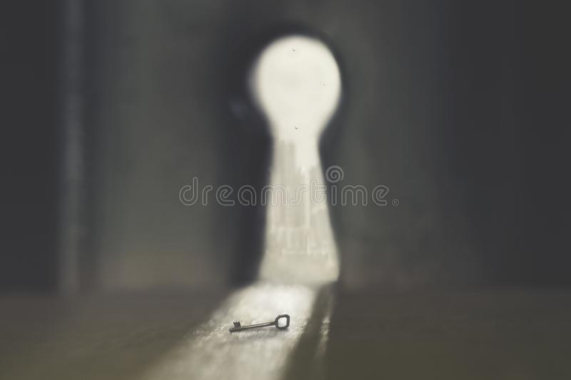 Key that can open the door, conceptual photo about problem solving. Key that can open the door, a conceptual photo about problem solving royalty free stock photography