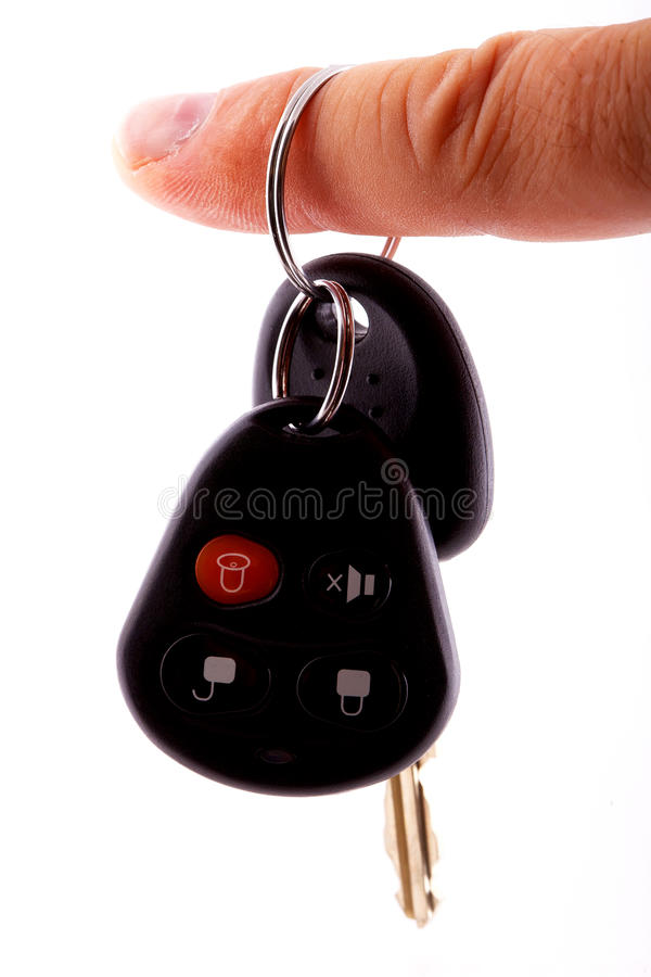Key car with remote. Finger outfit royalty free stock images