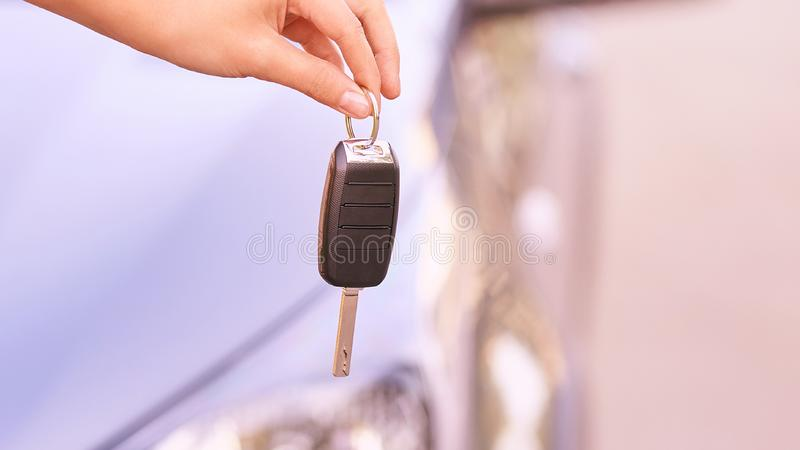 Key in car. Ride instruction accident. Automobile loan. Outdoor.  stock photography