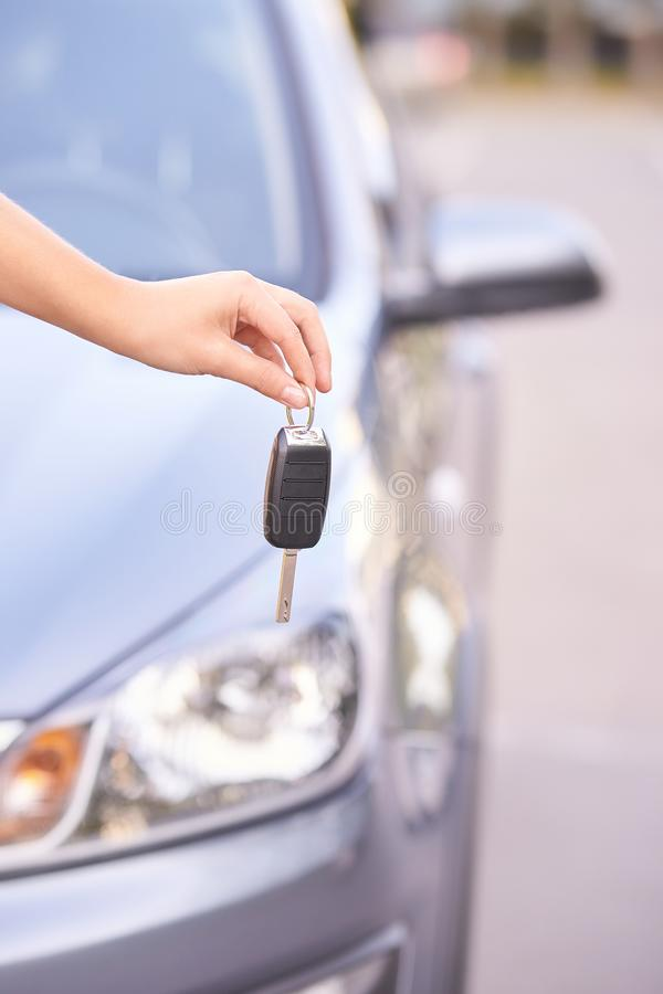 Key in car. Ride instruction accident. Automobile loan. Outdoor stock photo