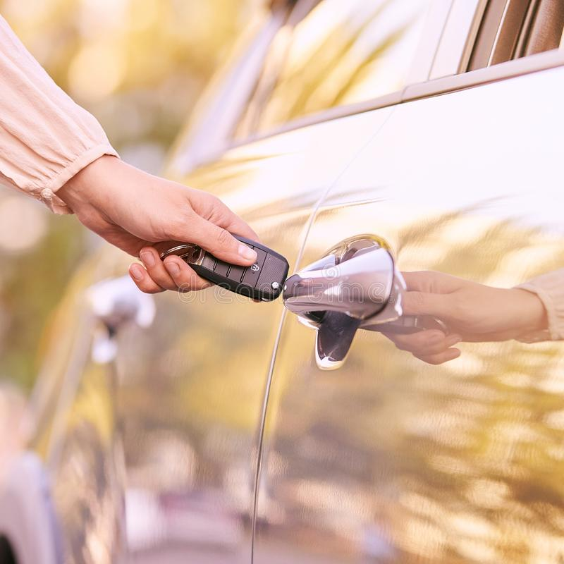 Key in car. Ride instruction accident. Automobile loan. Outdoor.  royalty free stock images
