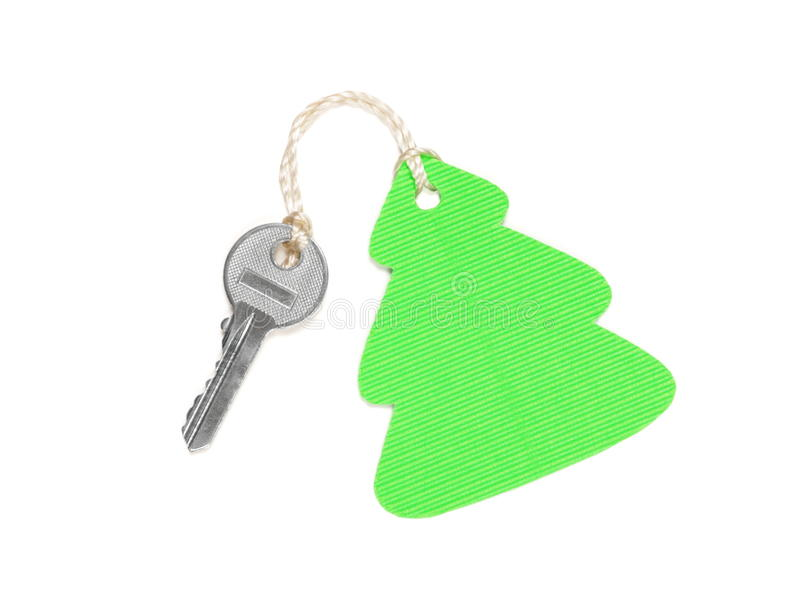 Key with christmas tree shaped label stock images