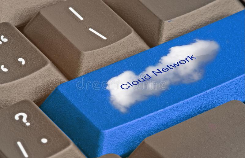 Key for cloud network. Keyboard with key for cloud network stock photo