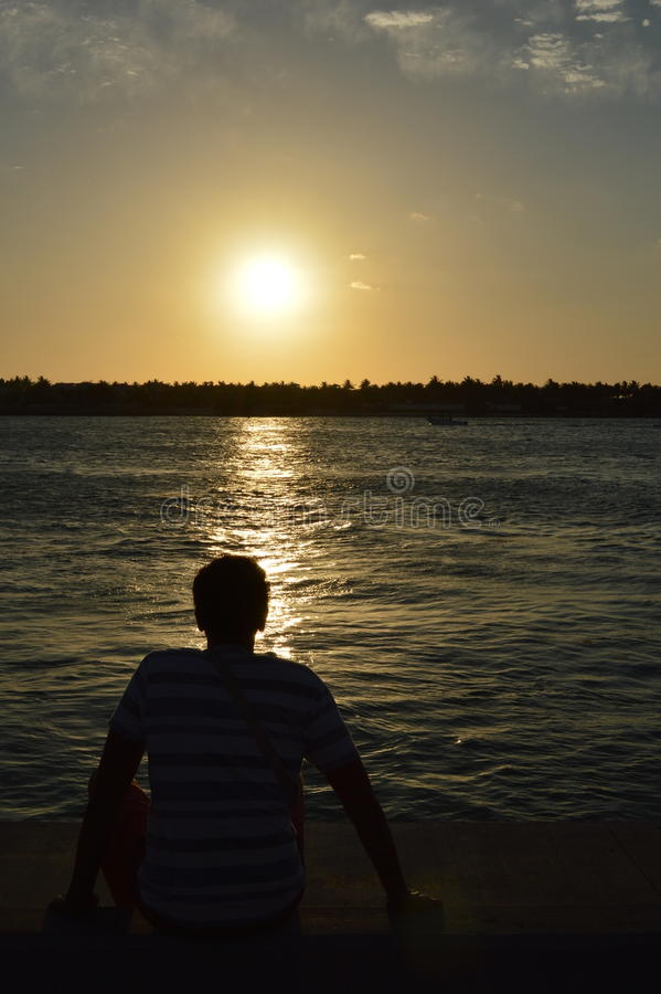 key den västra solnedgången royaltyfria foton