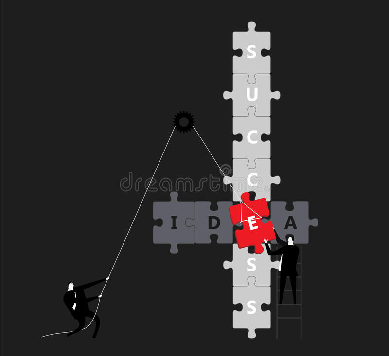Key elements. Two businessman work together to creat success and idea royalty free illustration