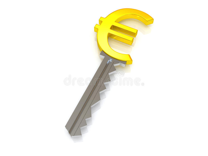 Key and euro. Very beautiful image. Key and euro. 3d vector illustration