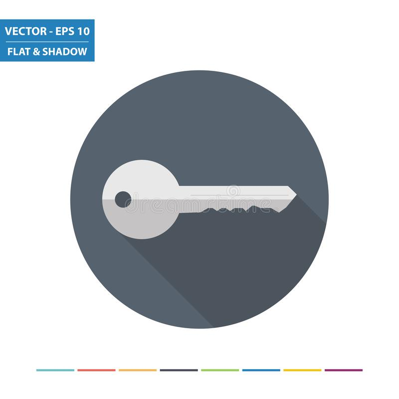 Key flat icon. With long shadow. Vector Illustration vector illustration